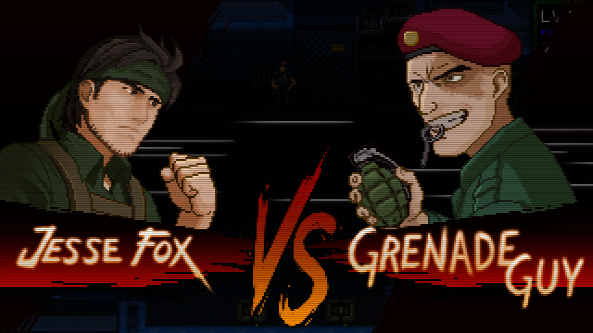 A screenshot from UnMetal, a Street-Fighter style intro screen showing your character facing a boss enemy, with a 'vs' tagline across the bottom.