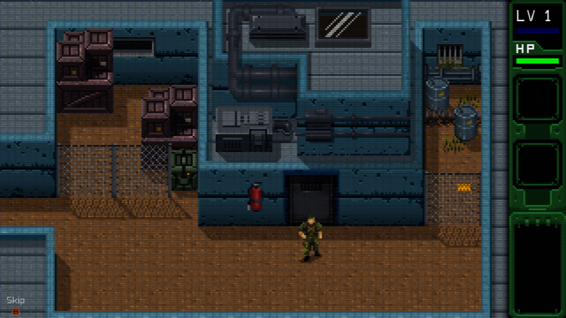 A screenshot from UnMetal, you're exploring a military facility of some sort, with barrels and crates lying around and a guard standing watch.