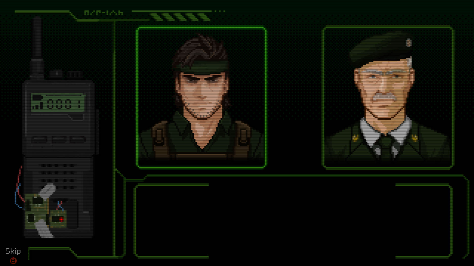 A screenshot from UnMetal, showing a Metal Gear Solid-style radio conversation between you and a stern-looking, moustachioed man.