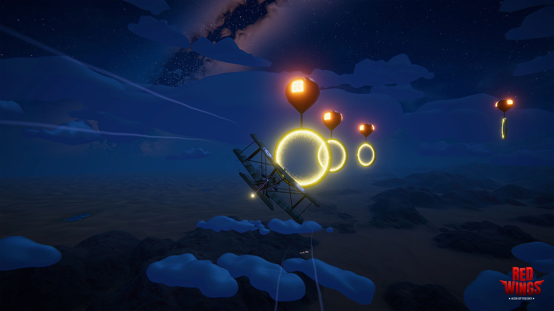 A screenshot from Red Wings, a flying challenge whereby you navigate golden rings, suspended by balloons.