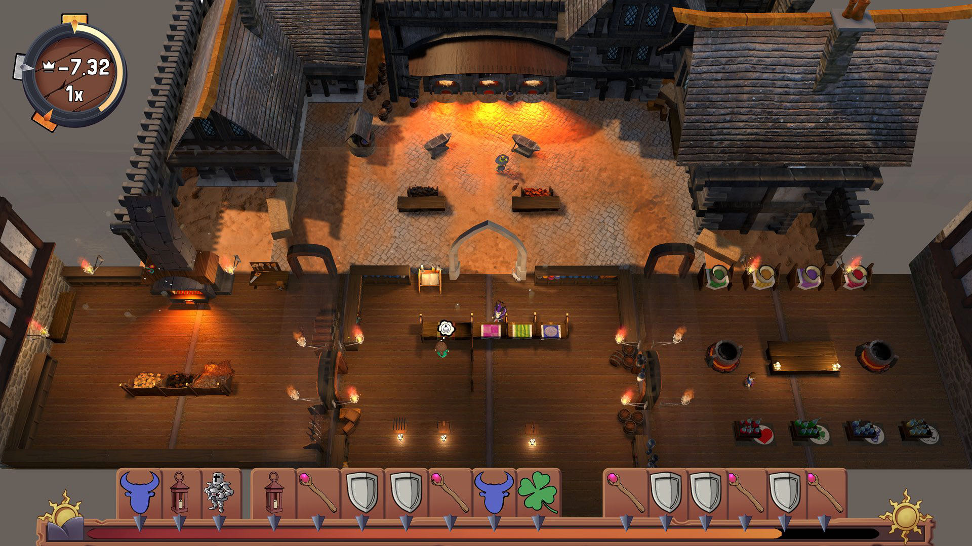A screenshot from Merek's Market, a zoomed out view of your store with a forge in the back, and a number of colourful displays in the front.