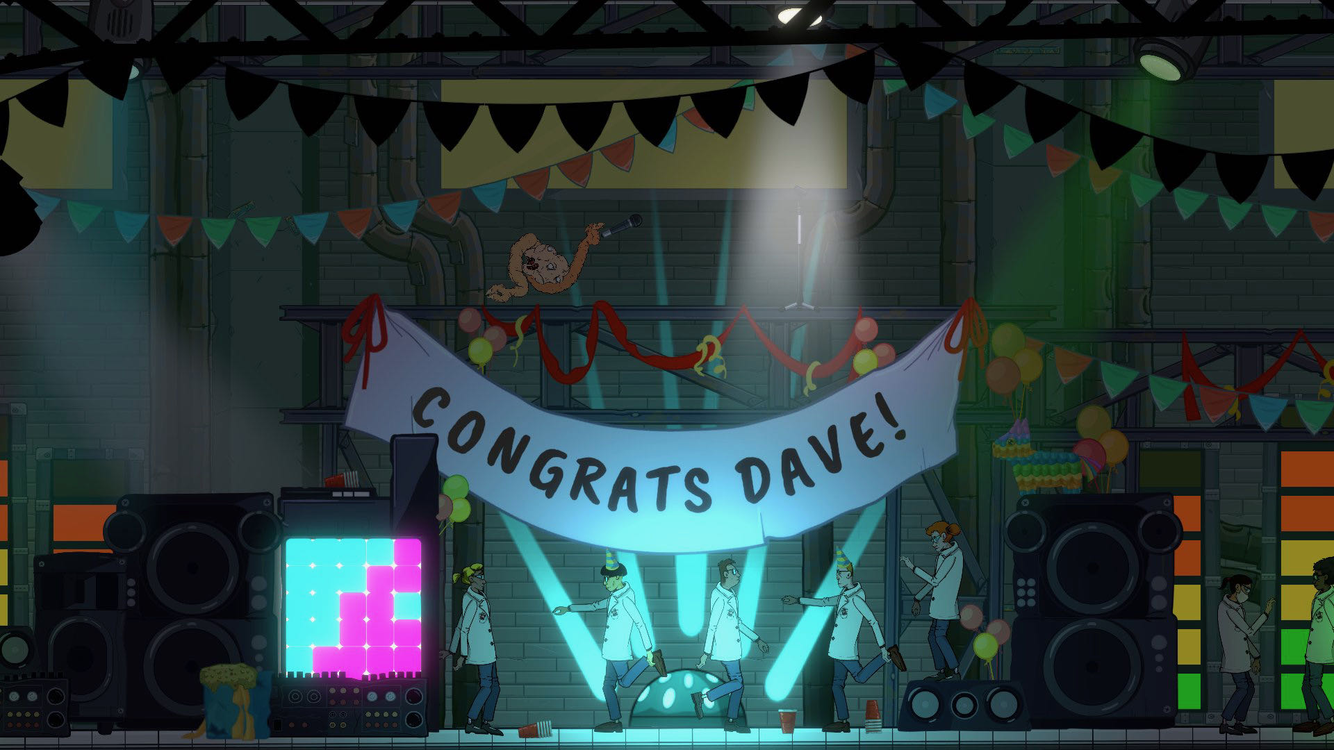 """A screenshot from Struggling, a banner saying """"Congrats Dave"""" hanging in a messy warehouse, with lab-coat wearing people dancing awkwardly."""