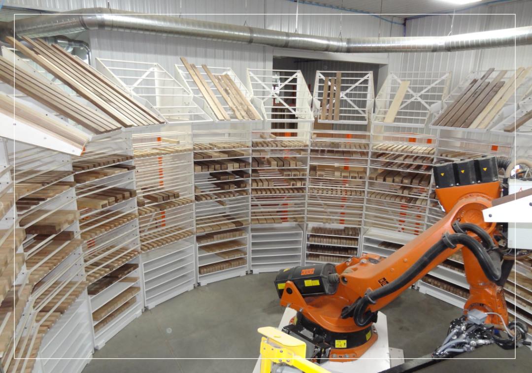 Entrepôt automatisé pour composantes de bois