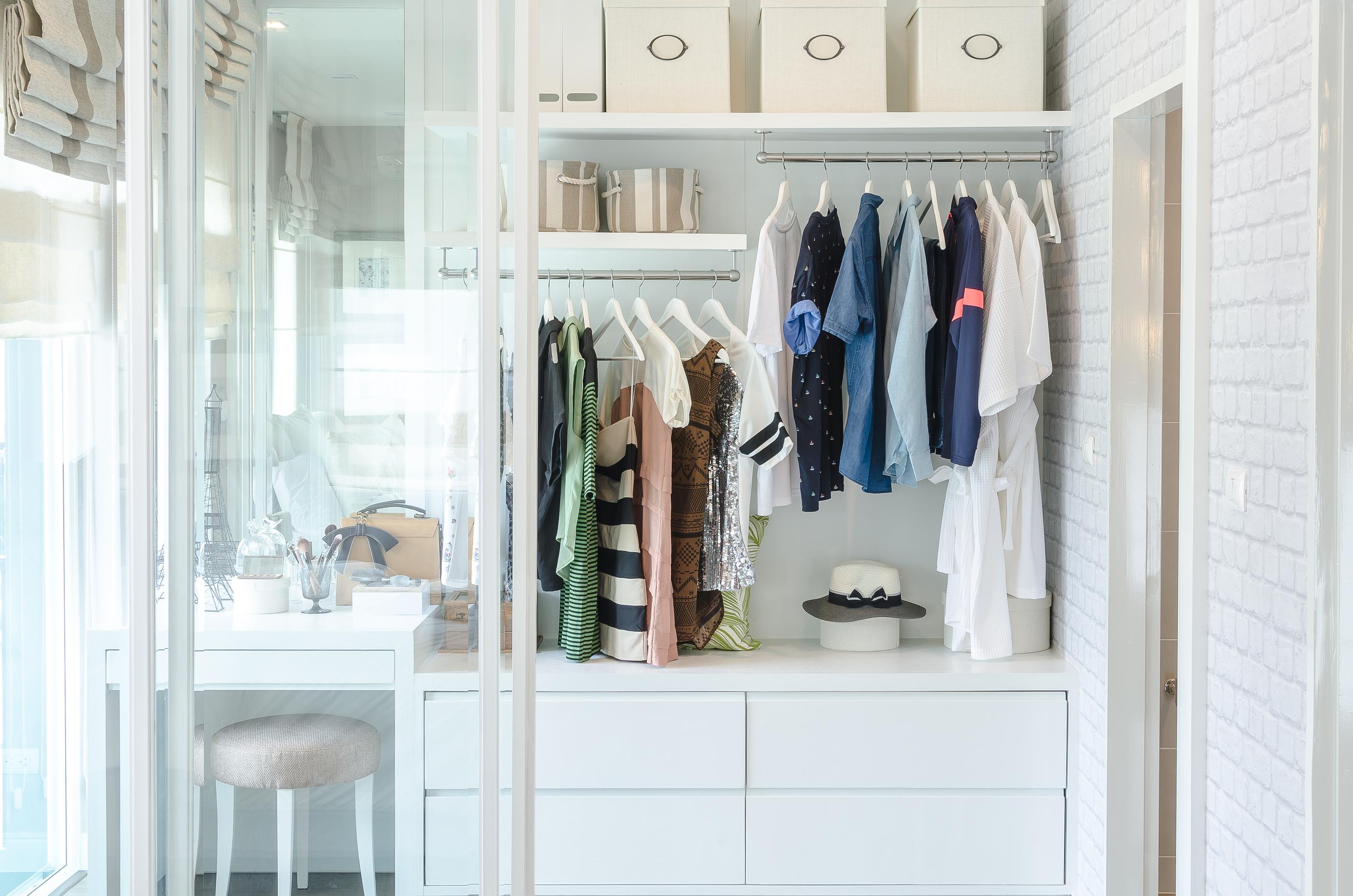 Custom wardrobe with modern white finish.