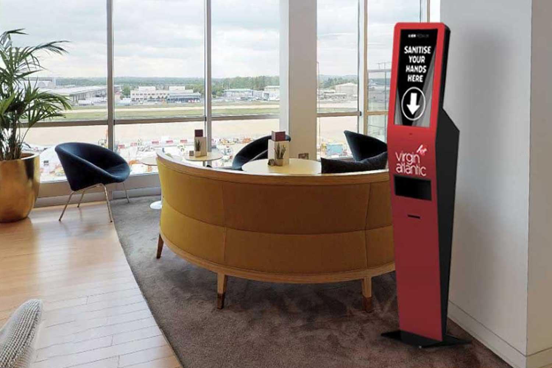 Sanitising Kiosk in Airport Lounge