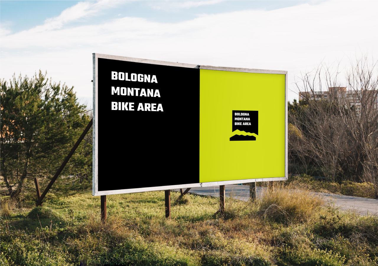 Un poster con il logo della Bologna Montana Bike Area.
