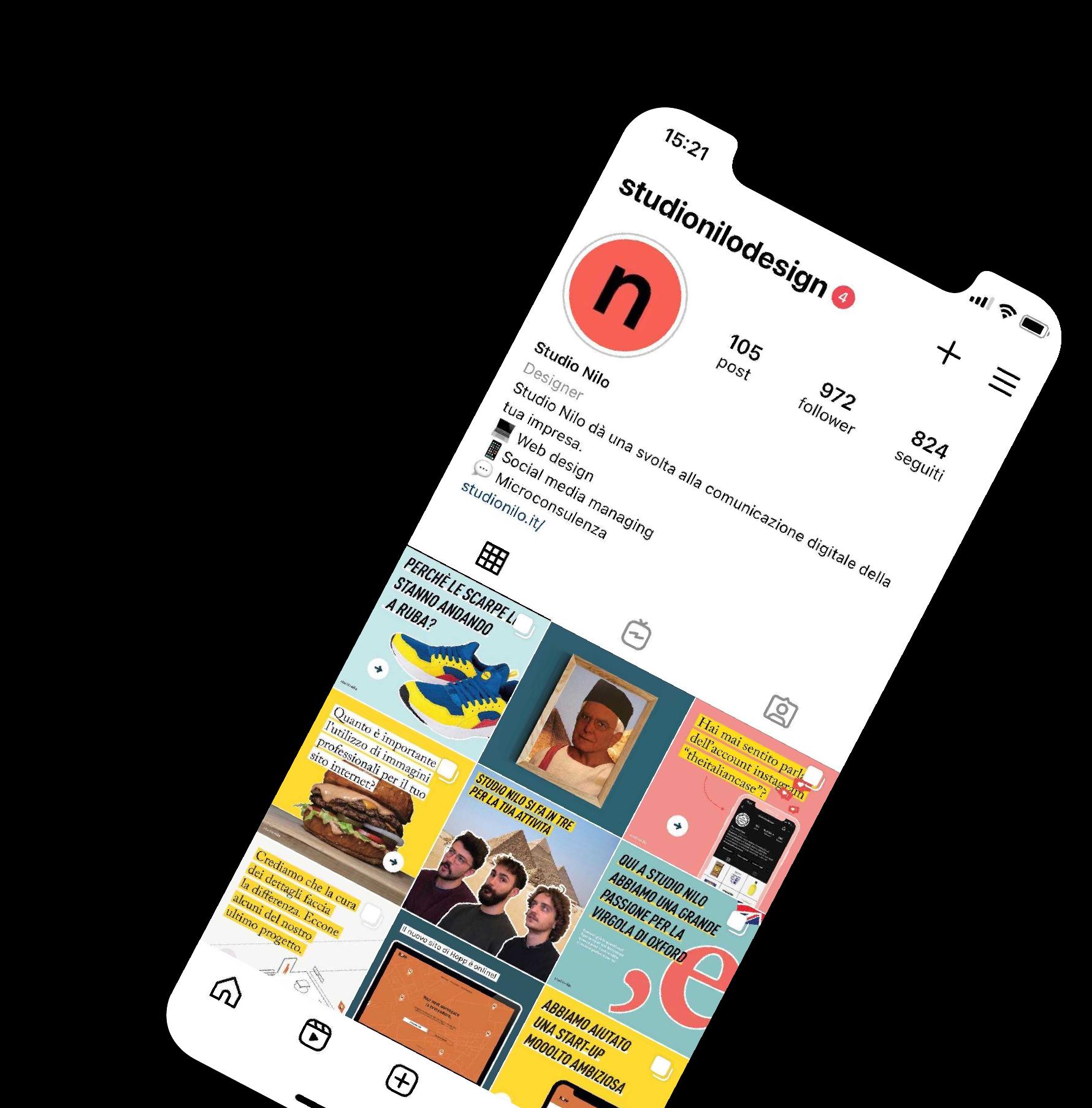 Uno smartphone mostra una porzione del feed Instagram del nostro account. Seguici!