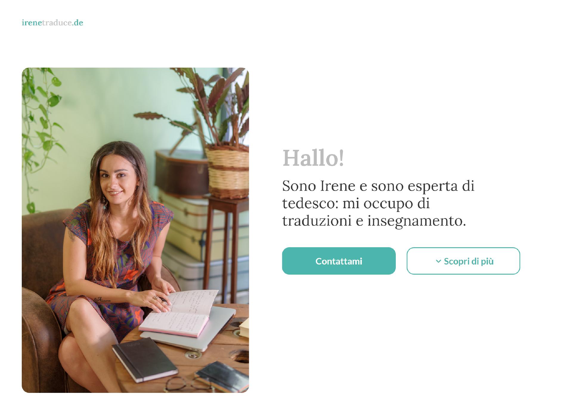 All'arrivo all'interno del sito, appare una fotografia di Irene Menichini e un breve testo introduttivo, ideato per dare un'idea generale al visitatore.