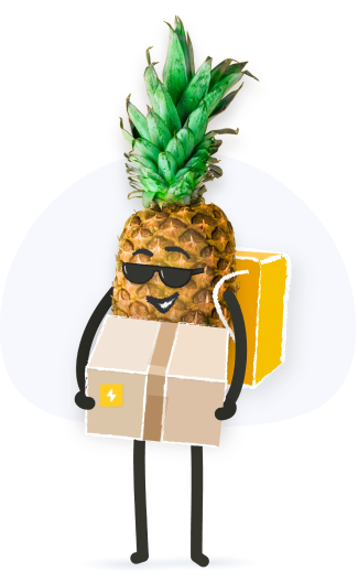 pineapple holding a box