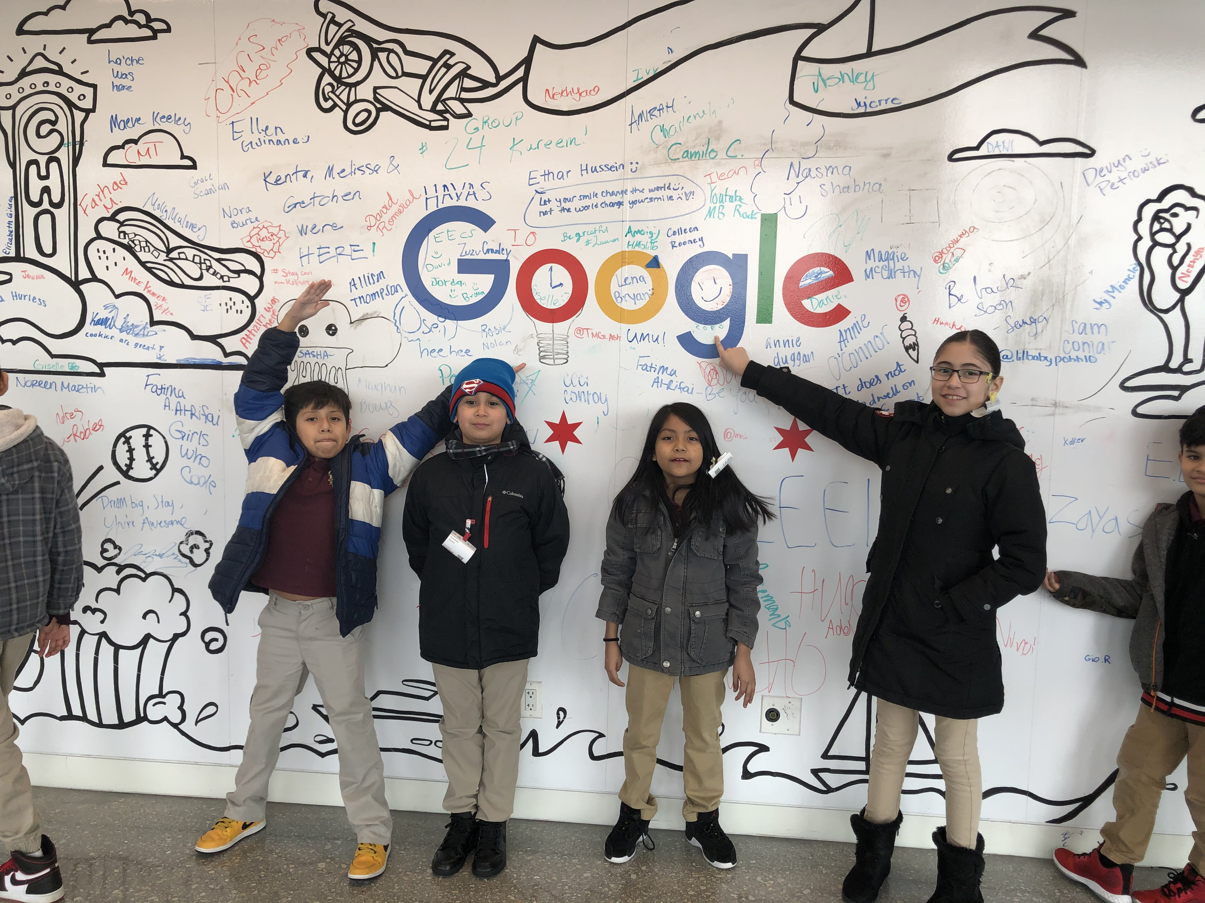 Students visit Google to learn about tech careers.