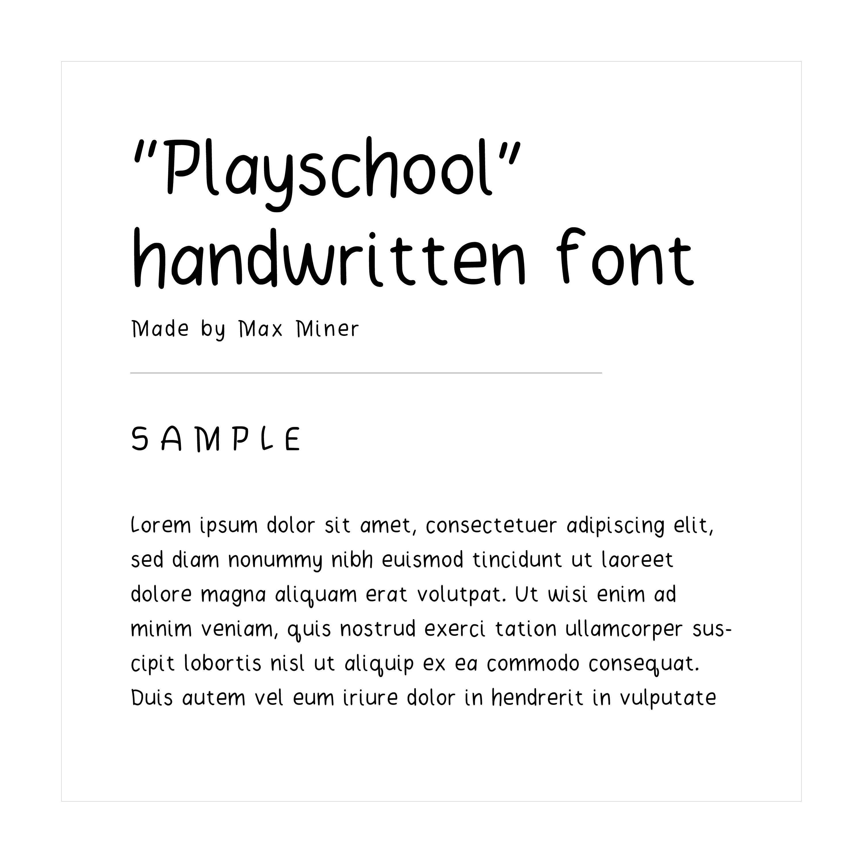 """Playschool"" hand written font example text"