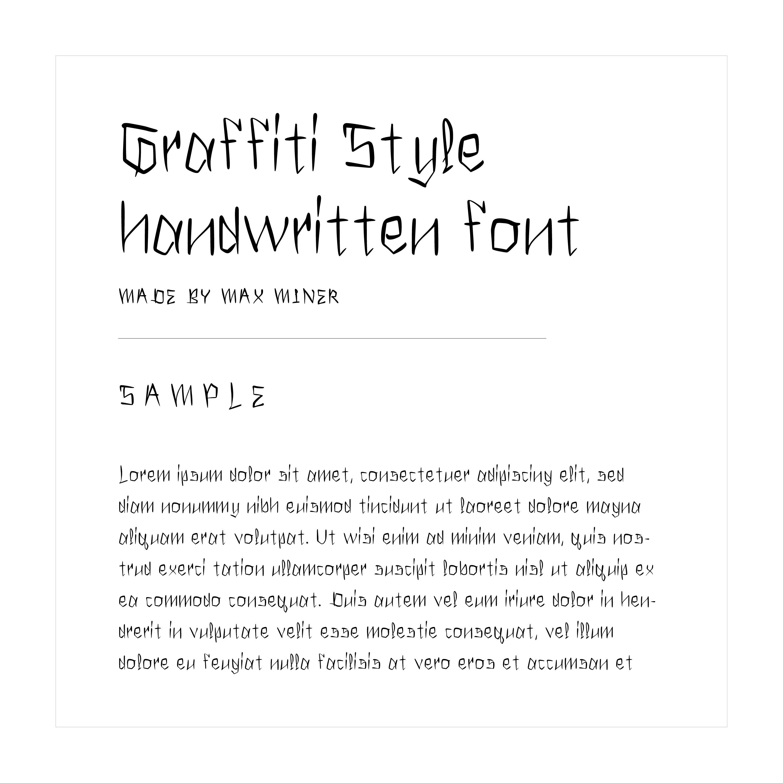 """""""Graffiti"""" hand written font example text"""