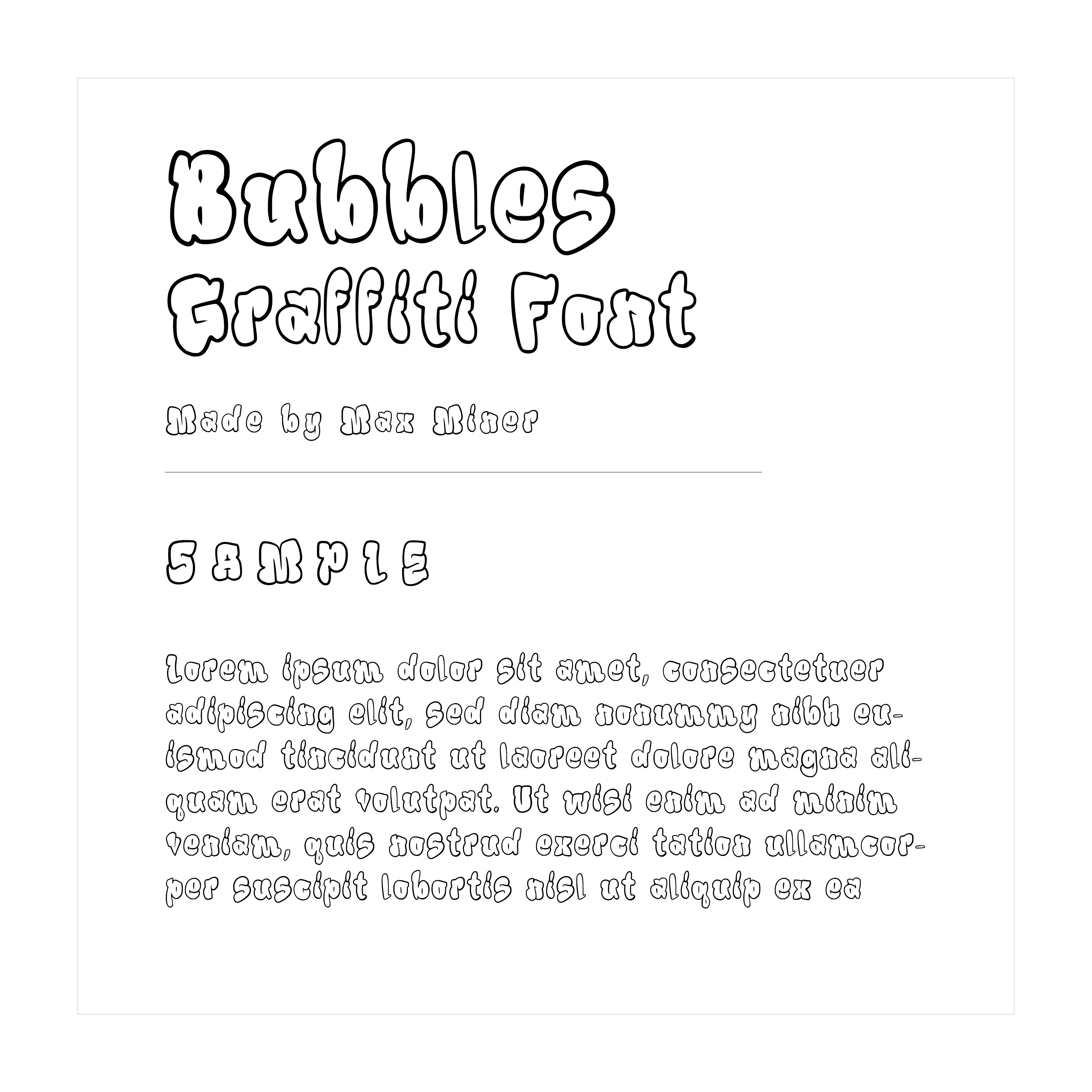 """""""Bubbles Outline"""" hand written font example text"""