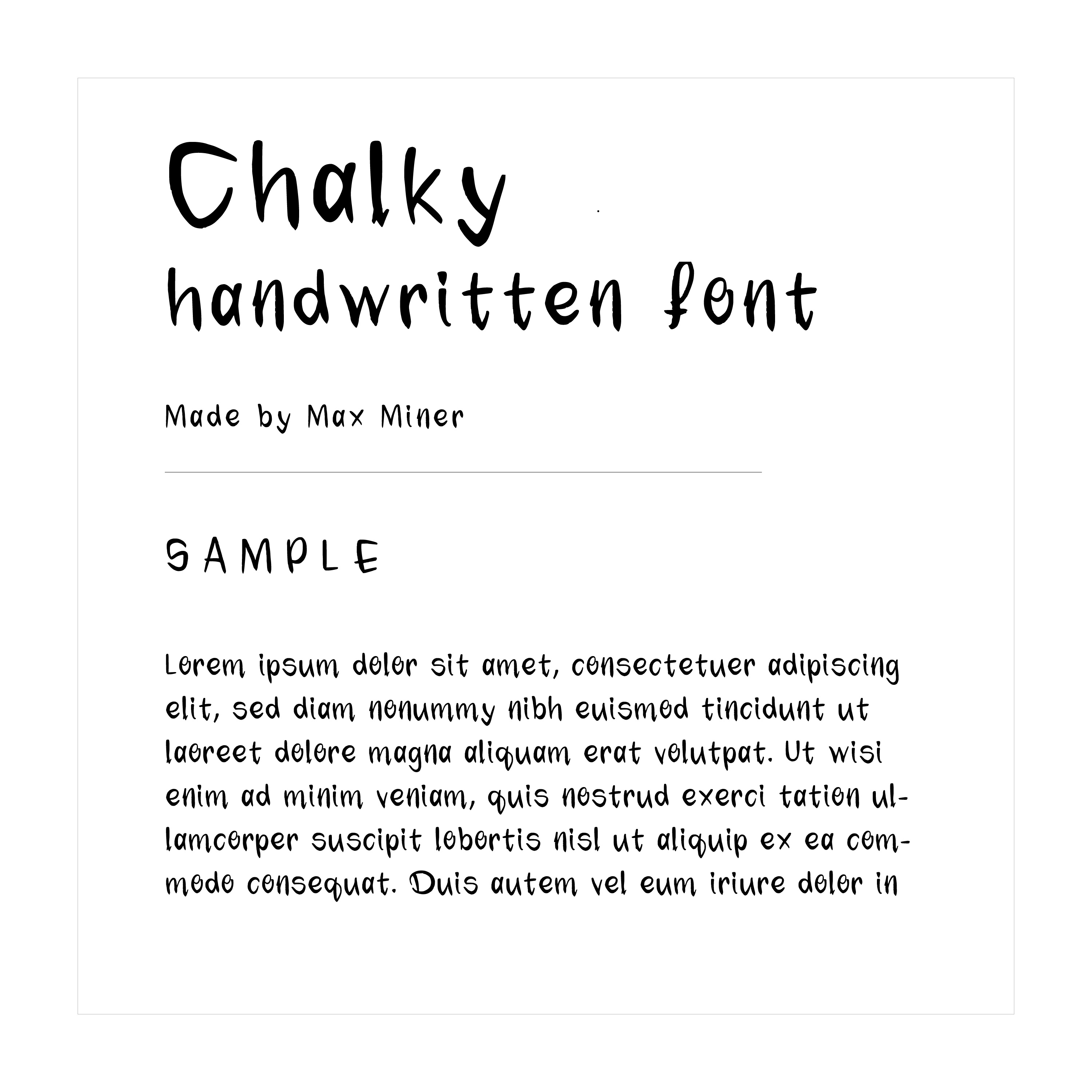 """""""Chalky"""" hand written font example text"""