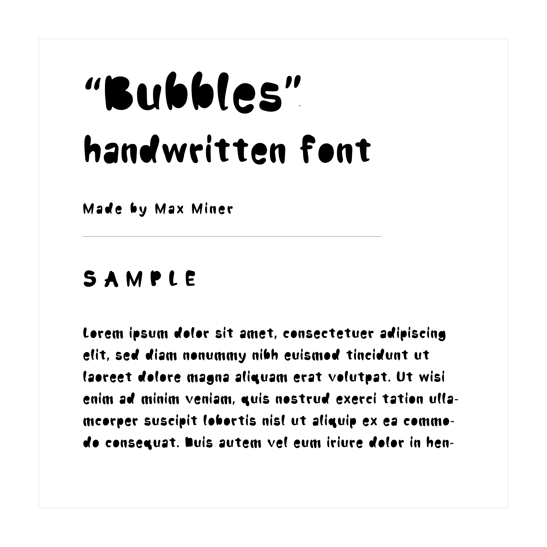 """Bubbles"" hand written font example text"