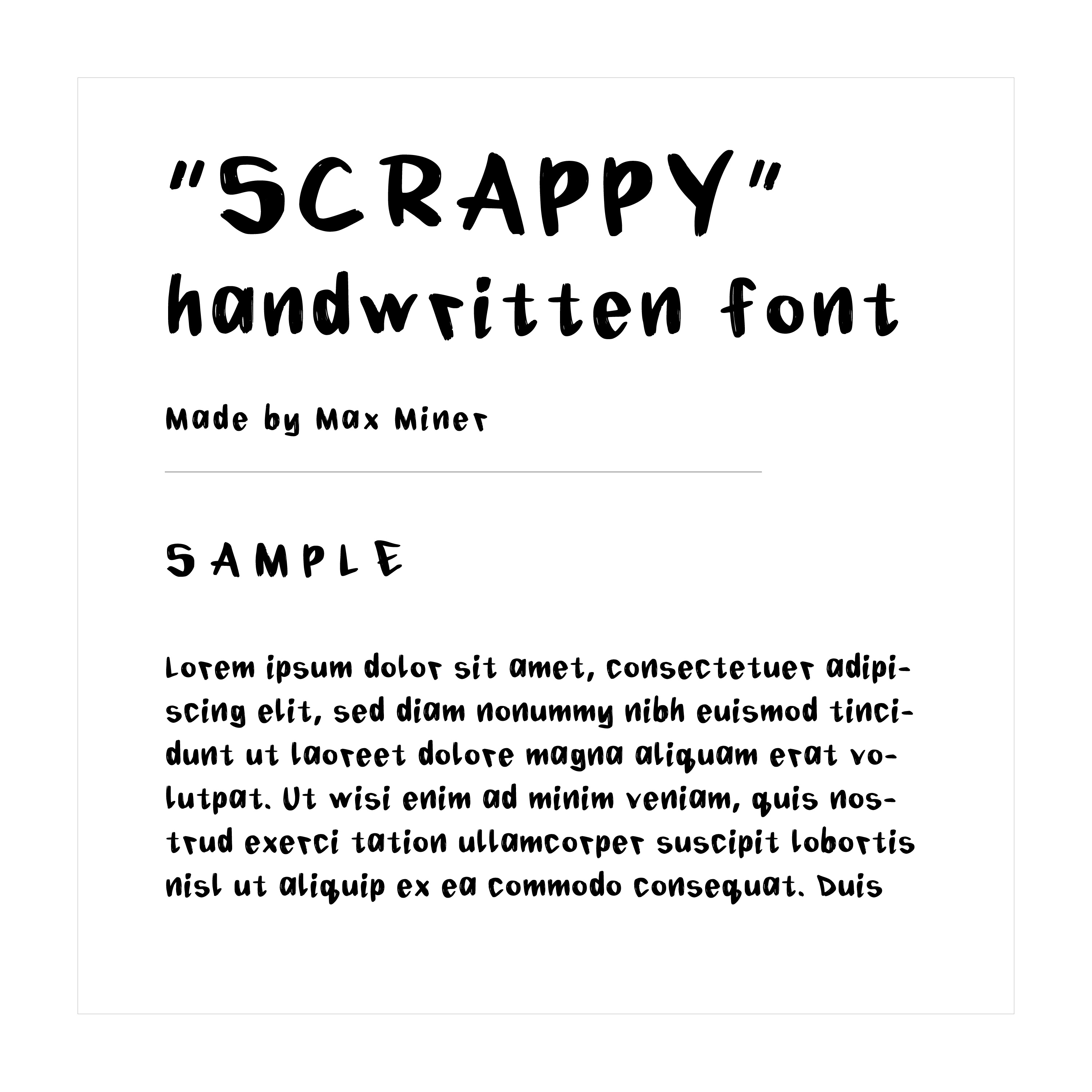 """""""Scrappy"""" hand written font example text"""