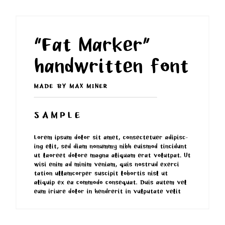 """""""Fat Marker"""" hand written font example text"""