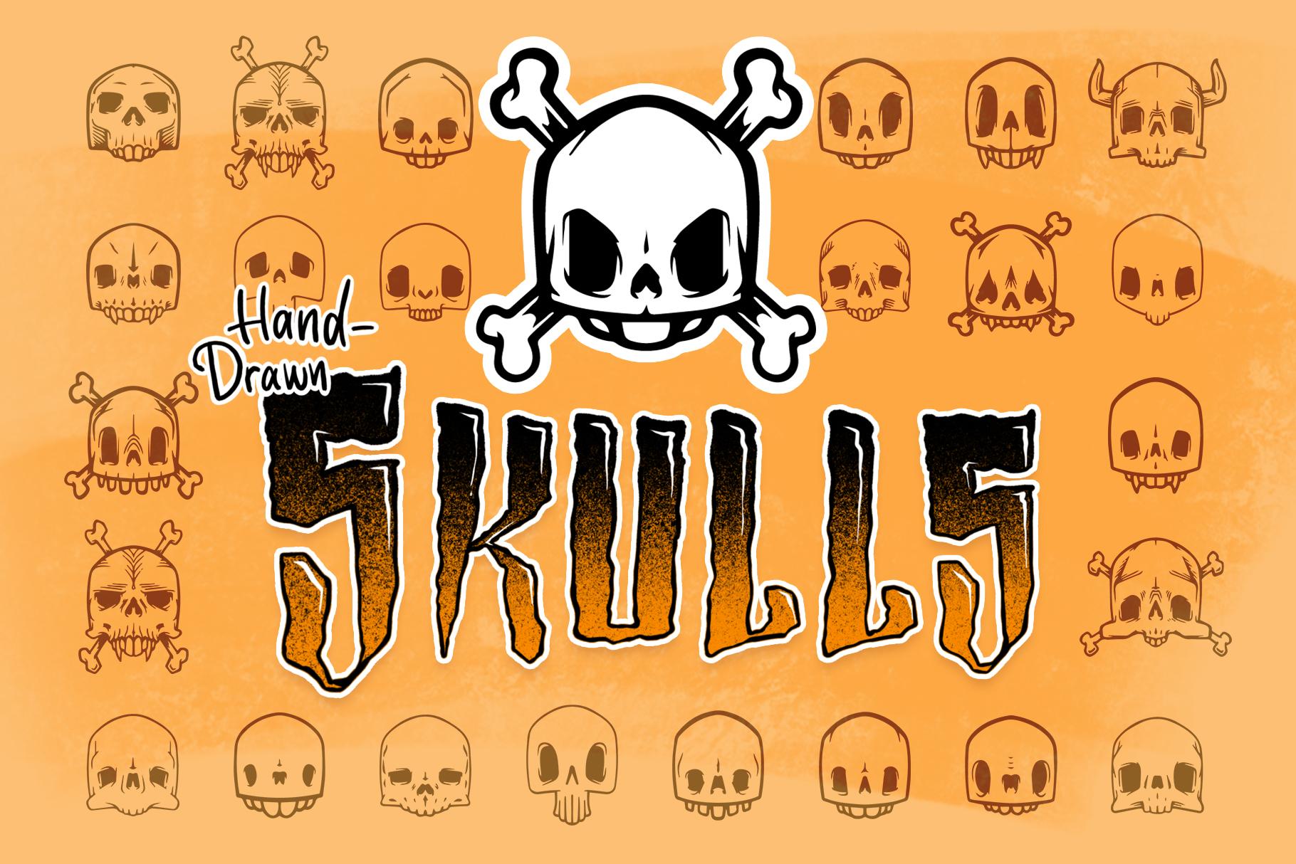 50 Skulls - Hand Drawn Vector Illustration Pack