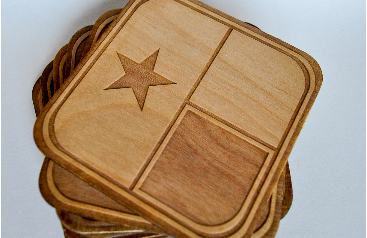 Laser Etched Wood Coasters