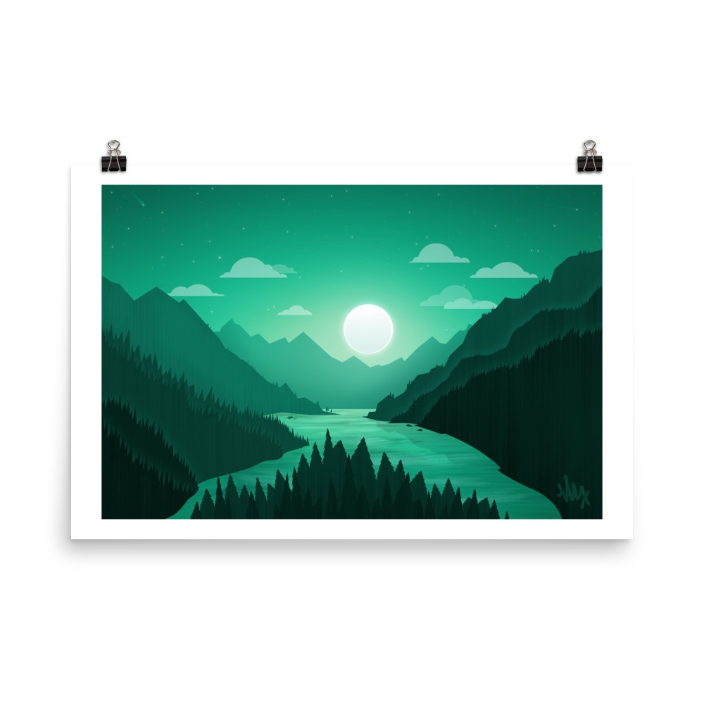 Moonlit Mountain Landscape - Flat Illustration Print