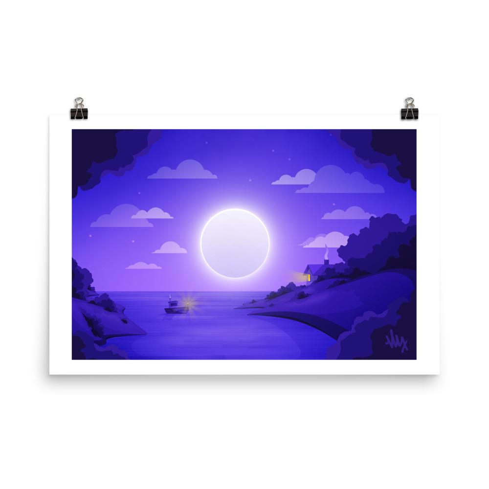 Full Moon Bay - Flat Illustration Print