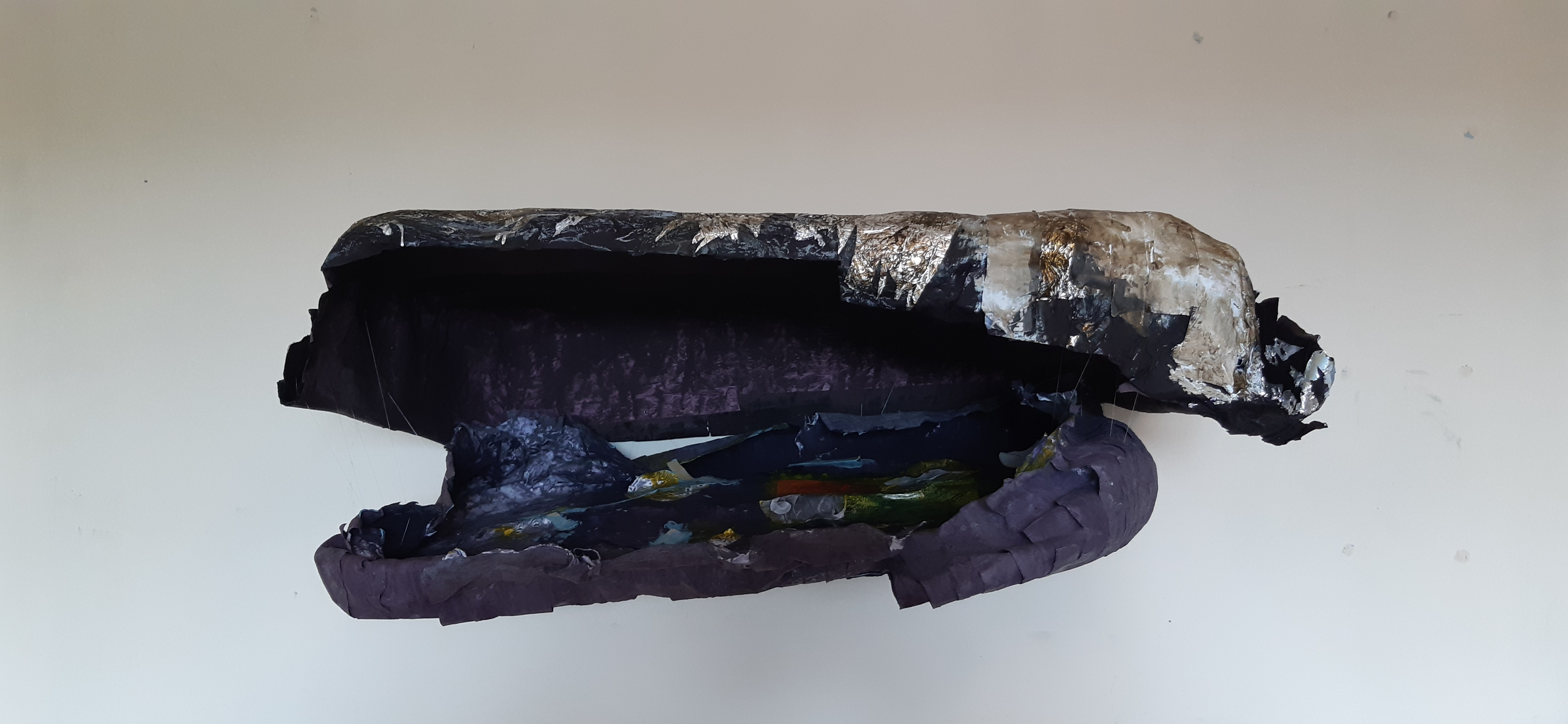 Nadia Tamerji 'Untitled', paper mache with acrylic mould and paper collage and fishing wire