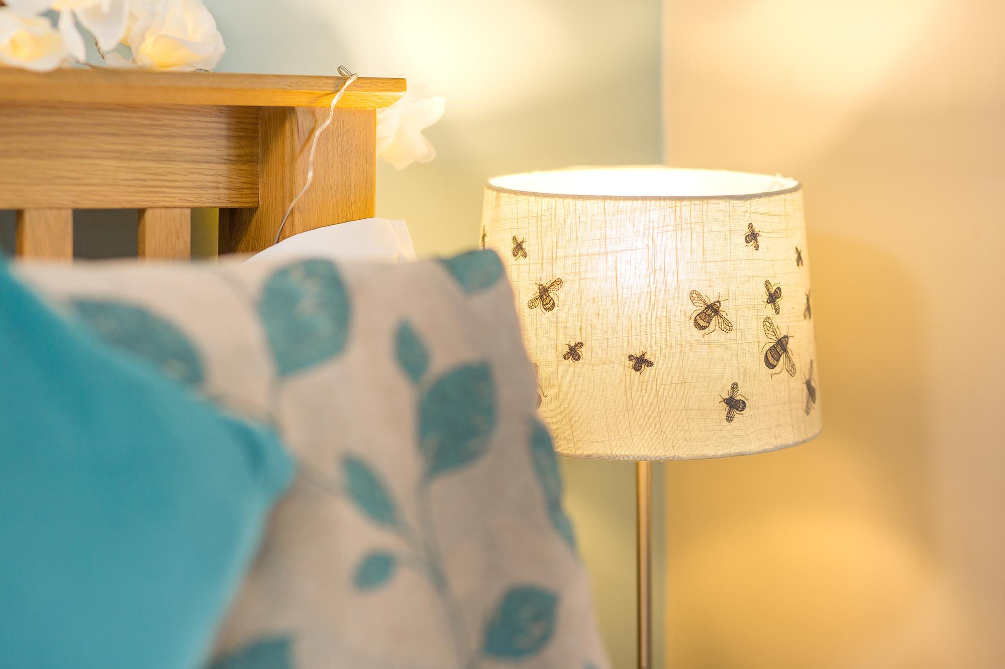 Close up of bedside lamp