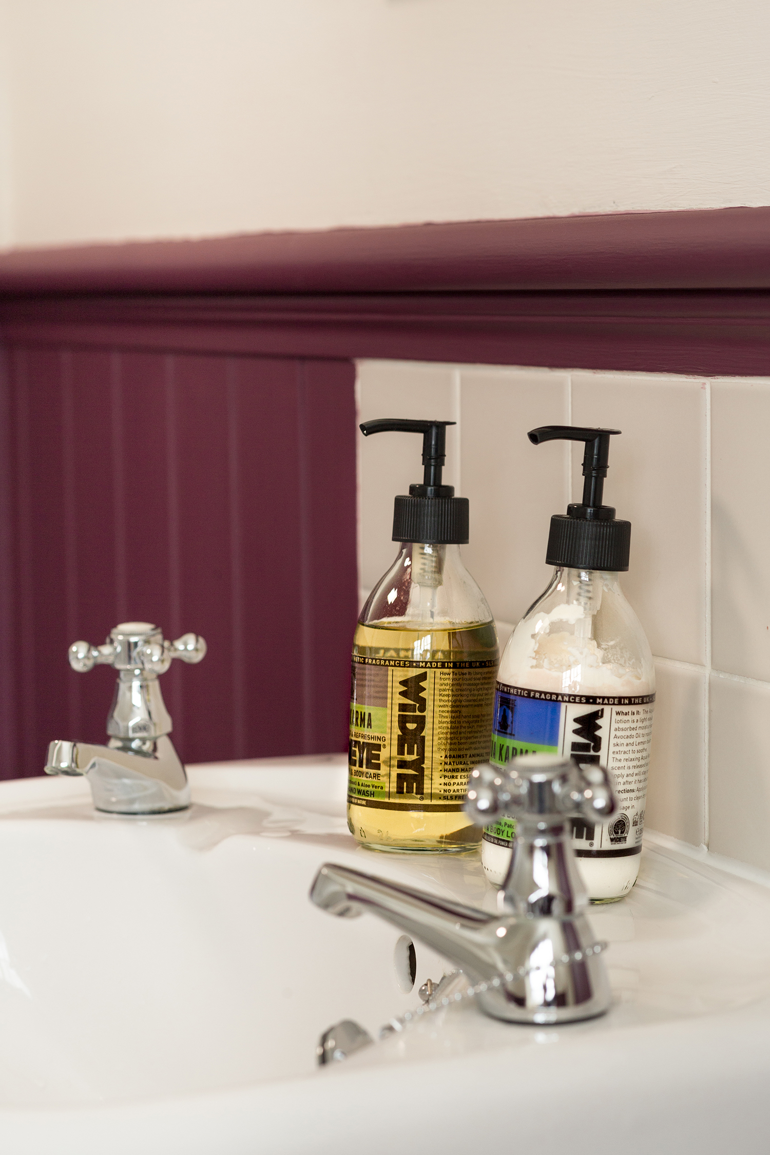 Close up of sink and products