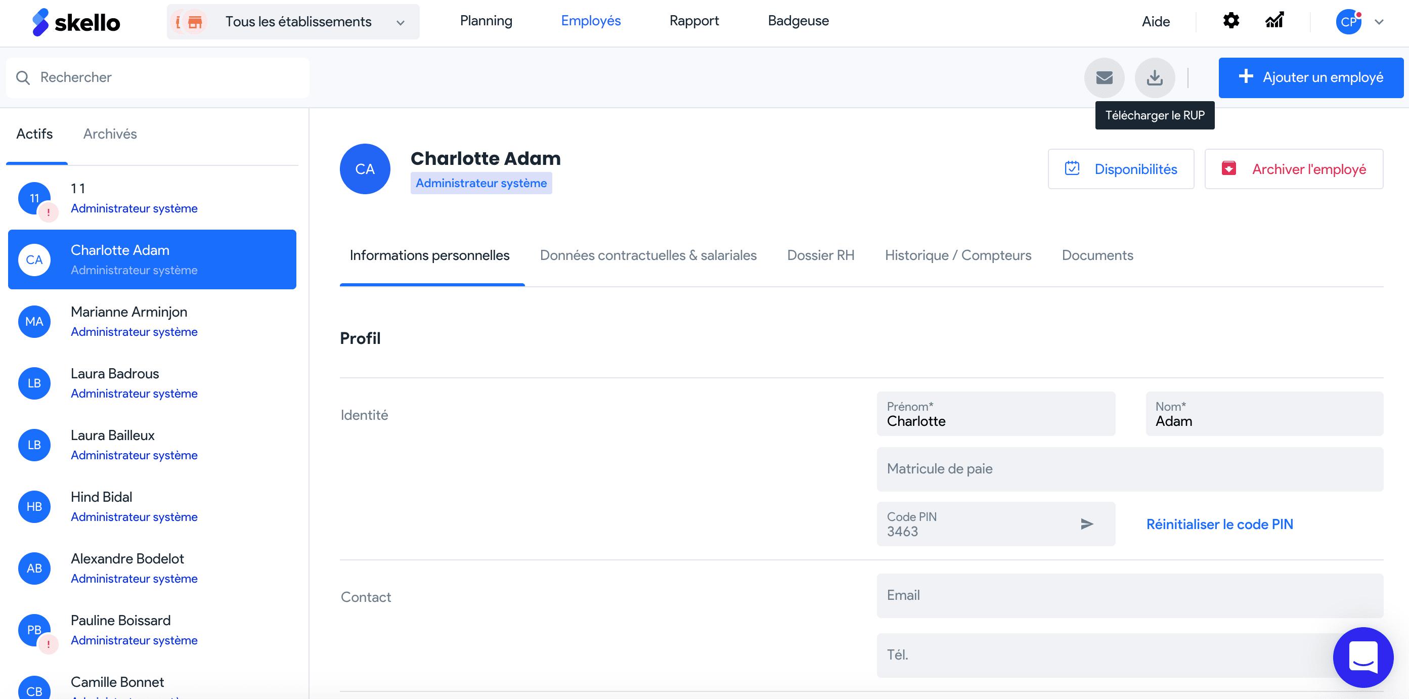 Comment exporter votre registre du personnel sur Skello ?