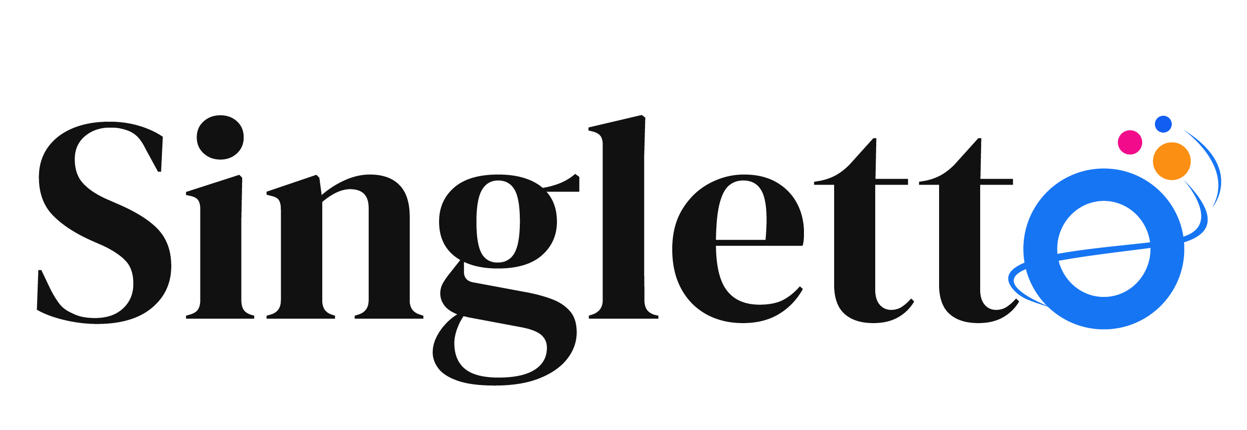 Stylized O with a line through the middle, three small dots at the top. Singletto logo.
