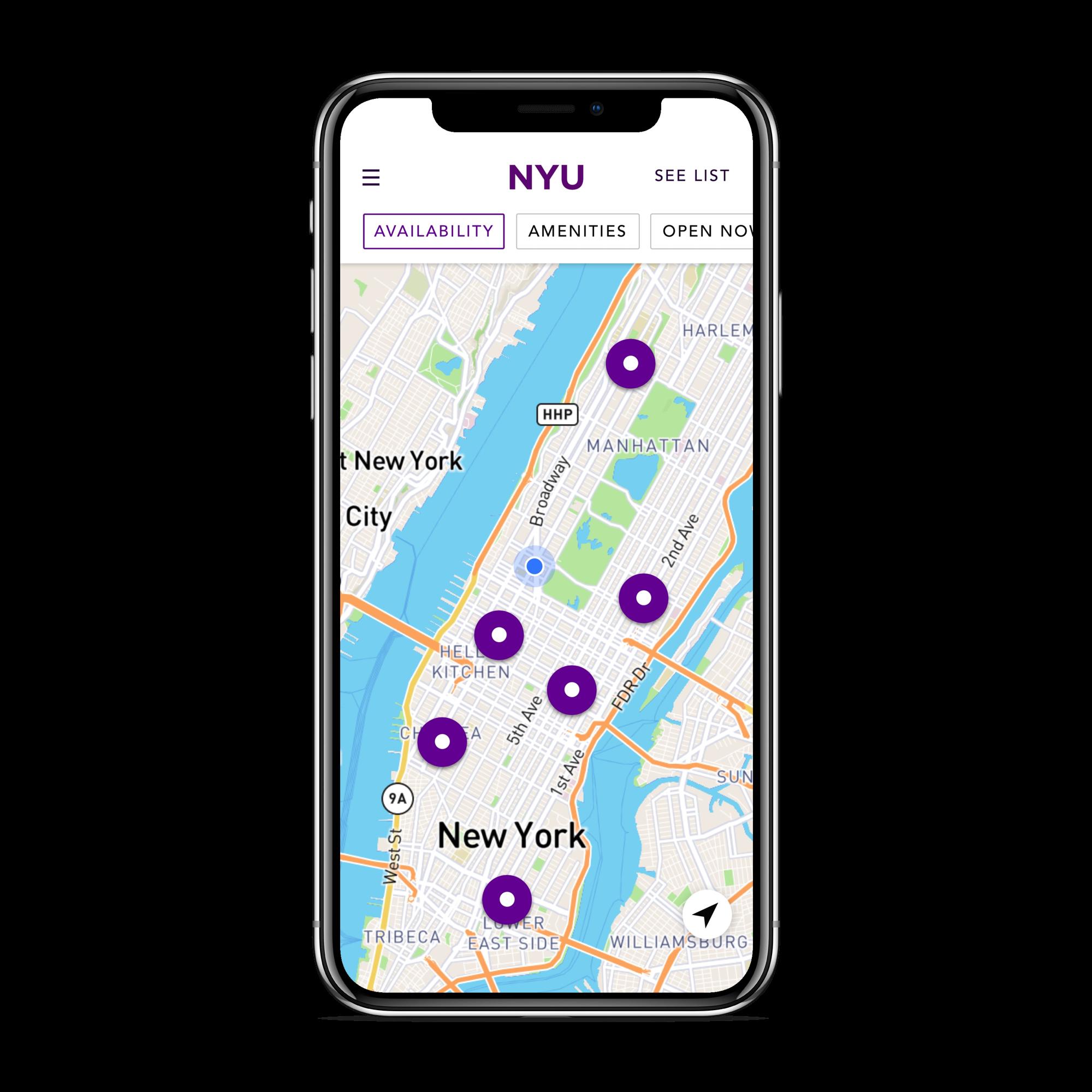 NYU Neighborhood Study Spaces app