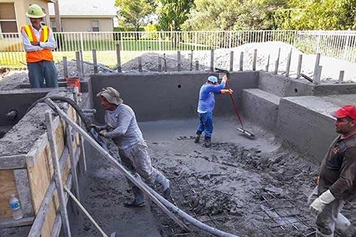 Pool Company in Miami during shotcrete work