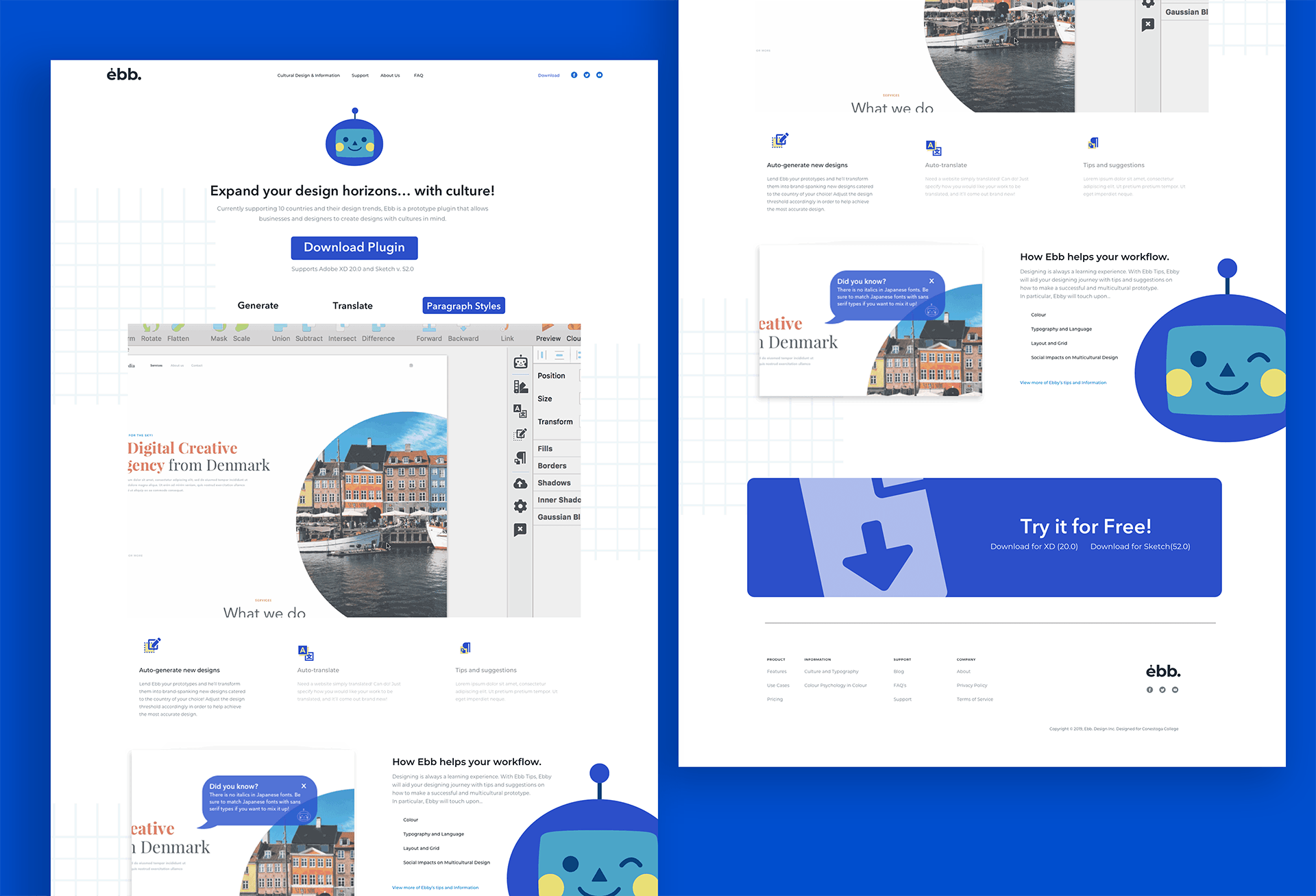 website mockup for Ebb plugin