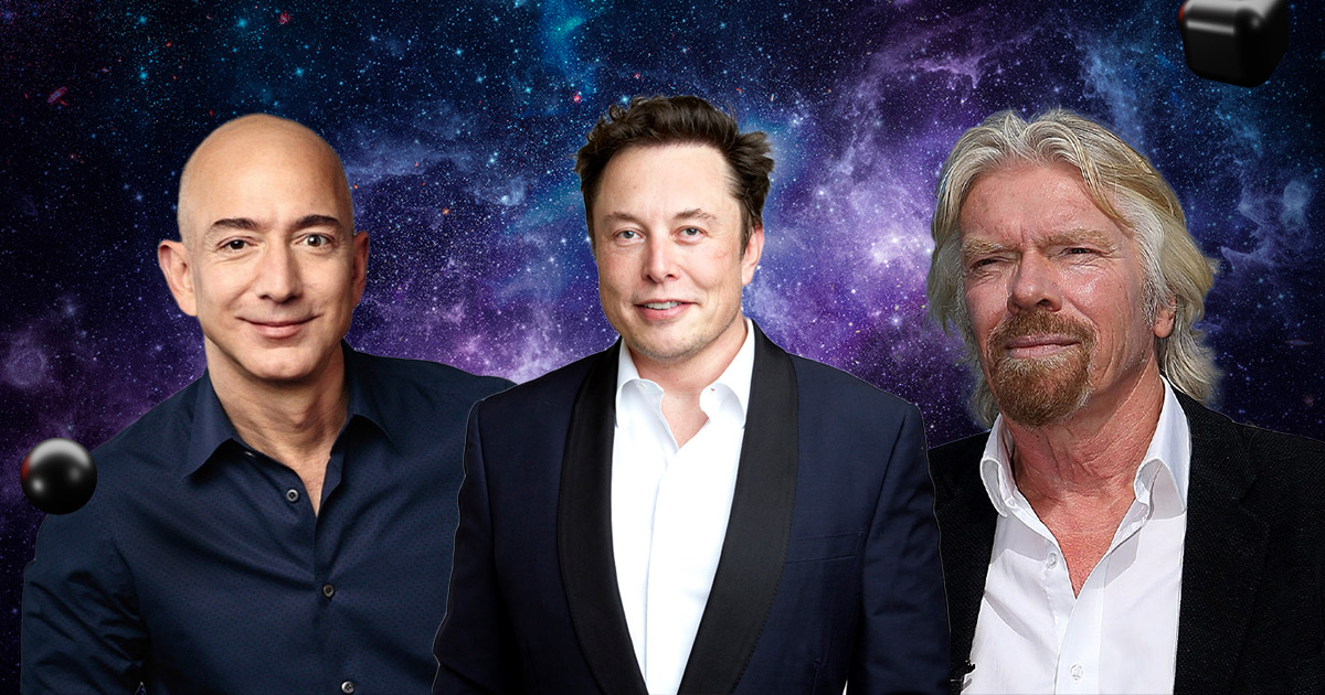 Jeff Bezos, Richard Branson, and Elon Musk are connected with space travel