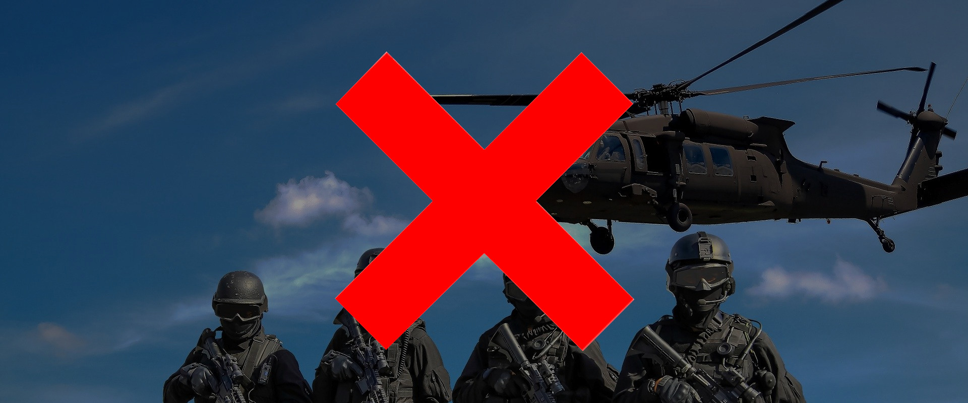 Four militarized police members and helicopter in the background, with red X overlaid to represent stopping biased targeting and surveillance