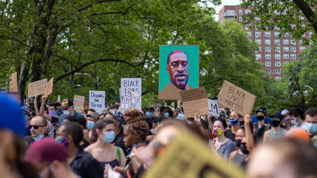 Protestors in New York City at a #BlackLivesMatter rally in summer of 2020