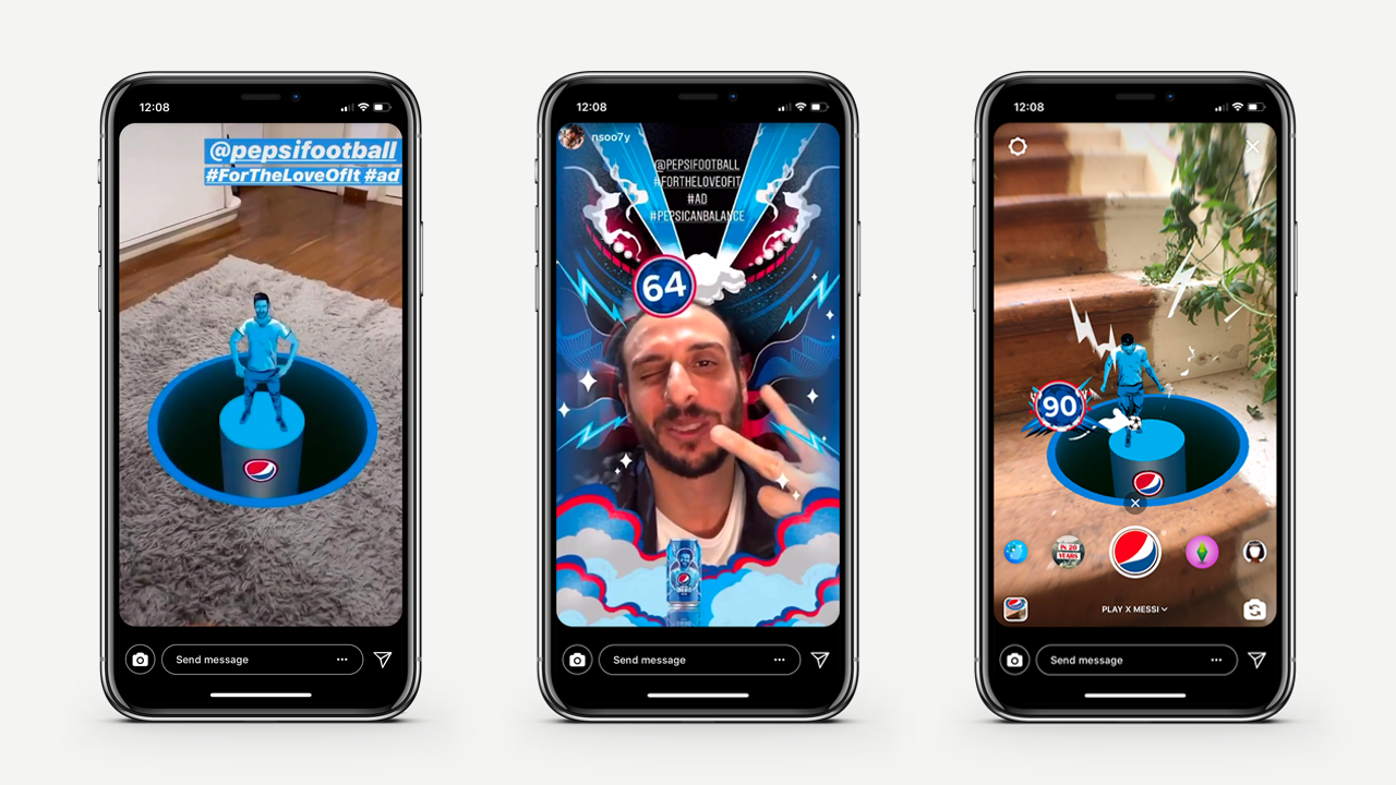 Three phones showing different screens of the Pepsi Spark AR project