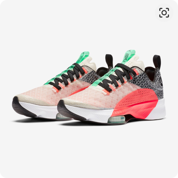 A pair of Jordan Zoom Renegade running shoes in light coral with crimson, grey, black and green inserts, and a white with black soles.