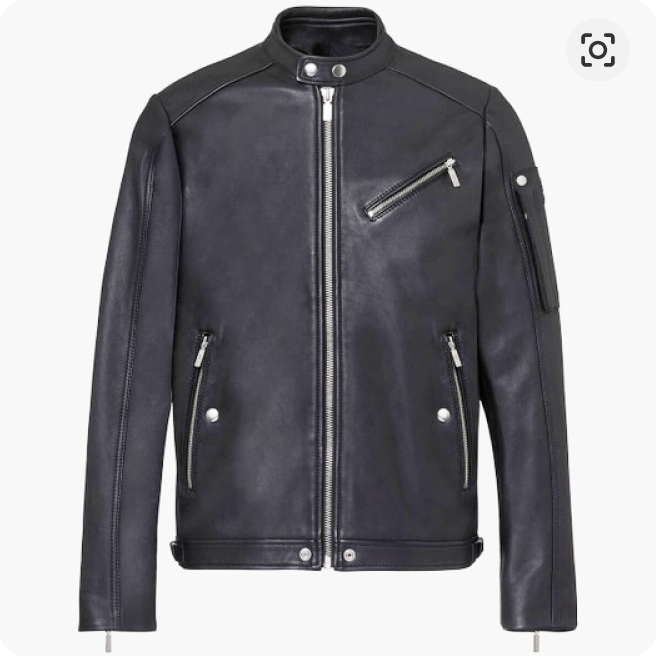 A picture of a black leather jacket from Diesel, with a front zipper, rivets and front pockets.
