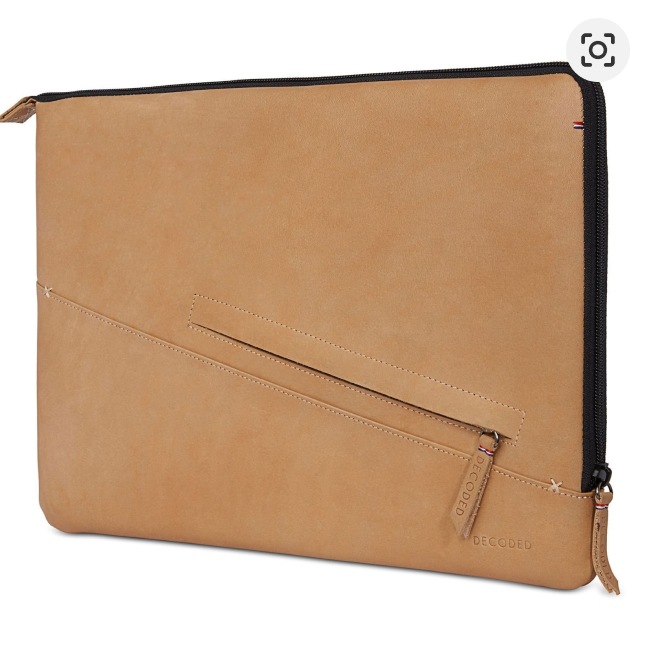 A picture of a brown leather Macbook Pro sleeve from Decoded