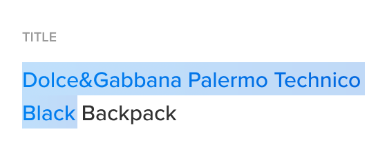 """A picture with an auto-generated product title with some predefined words, saying """"Dolce&Gabbana Palermo Technico Black Backpack"""""""