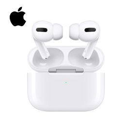 A picture of a pair of Apple Airpods Pro displayed on a product card with the Apple logo on the top left.