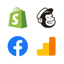 A picture of four logos such as Shopify, Mailchimp, Facebook and Google Analytics, all on a white card.