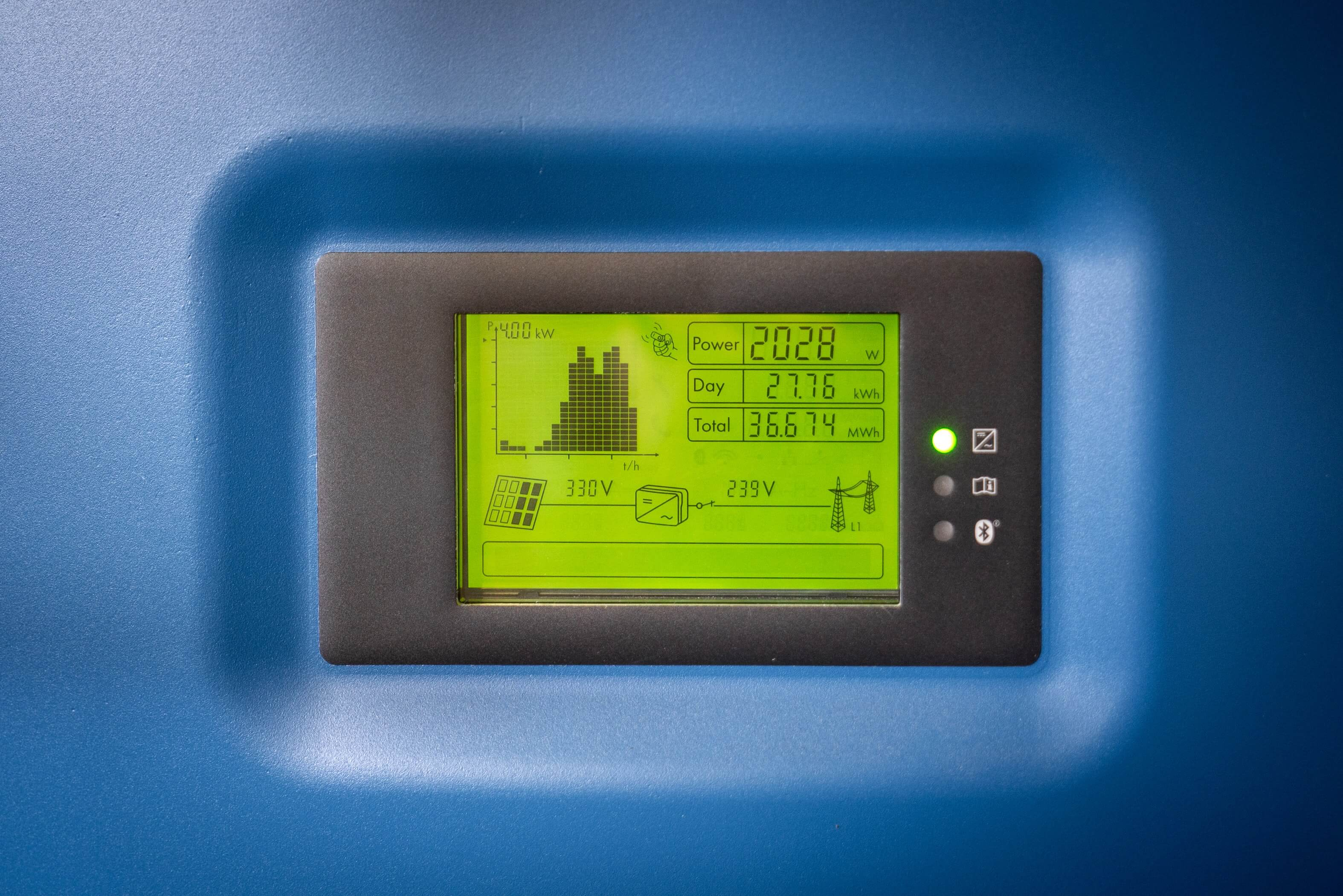 Electrical panel showing dashboard of solar power
