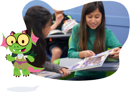 Two girls reading Beast Academy book