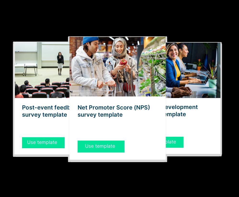Survey template for NPS, Post event surveys, career development surveys