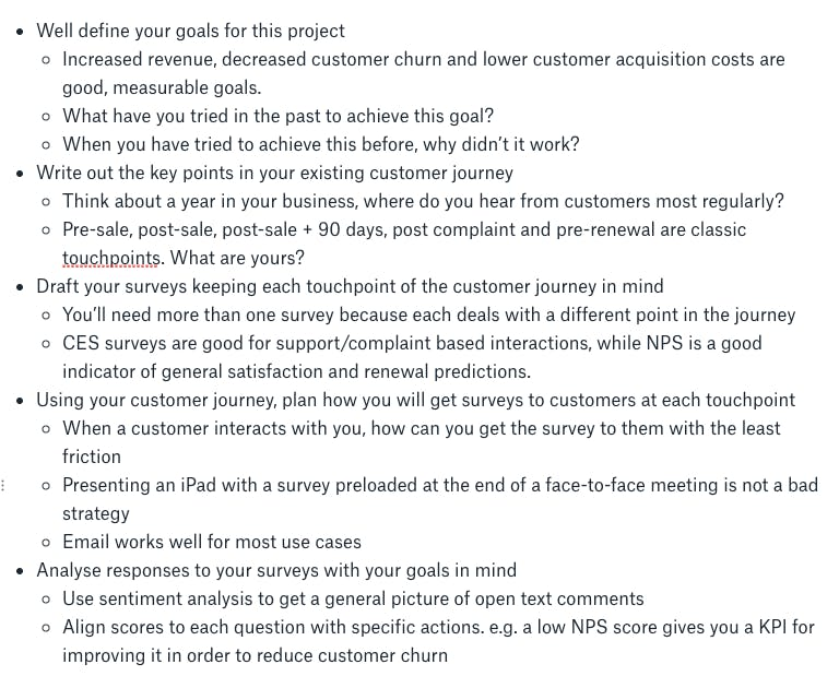Main points of the presentation fleshed out with sub points