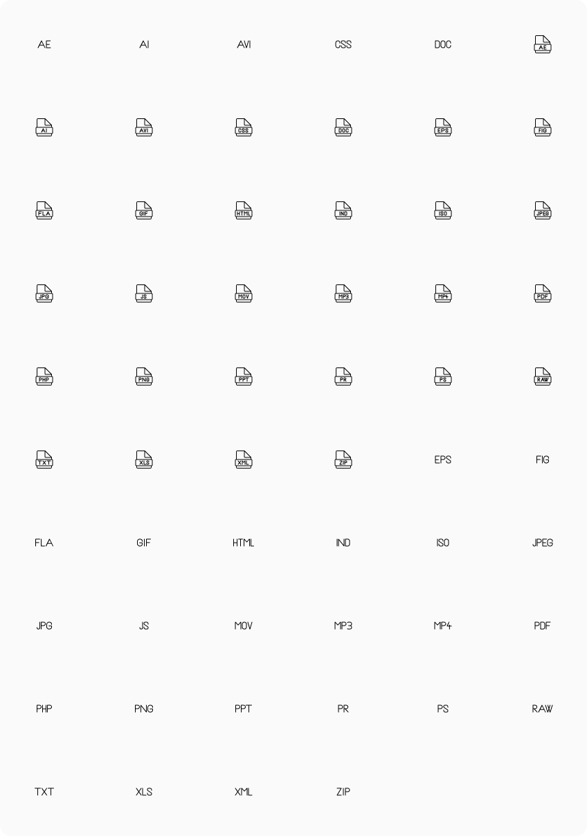 Formats icon set with editable icons via your design tool: Figma, Adobe XD, Illustrator and Sketch.