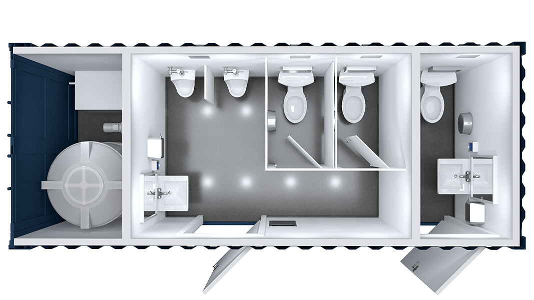 shipping container restroom floor plan