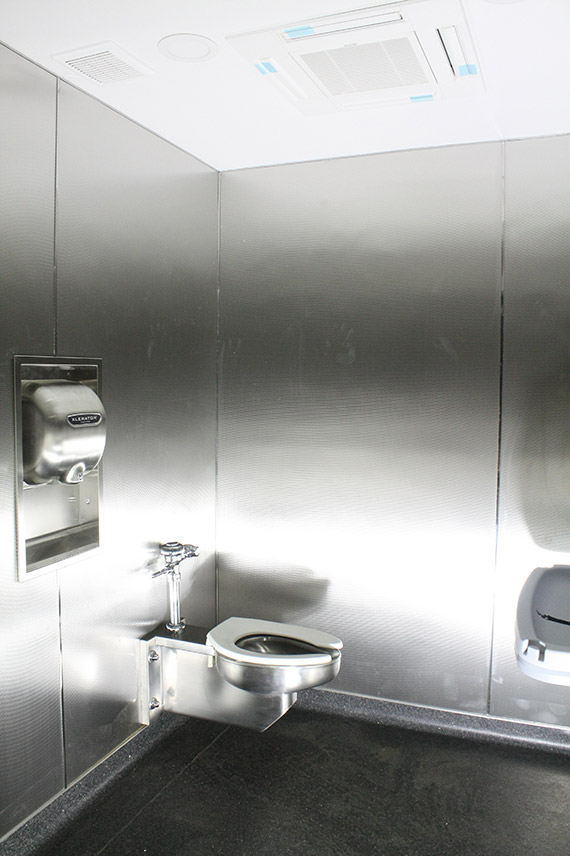 stainless steel shipping container bathroom